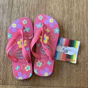 Havaianas, pink floral,27-28, wide strap, kids,new